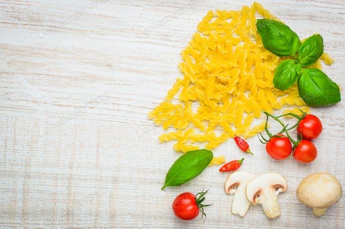 Fusilli Pasta and Copy Space