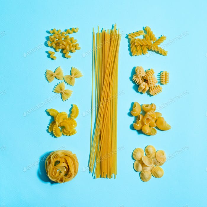 Different types of pasta. food knolling art