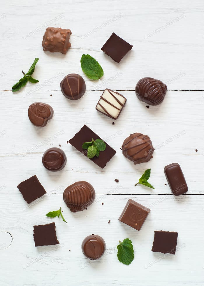 Different chocolate candies