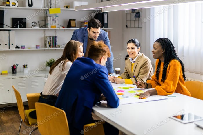 Business team working in a start-up office