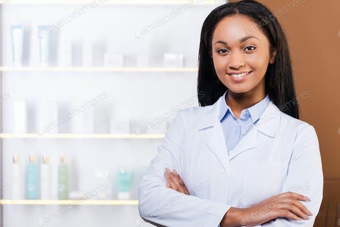 Confident pharmacist.