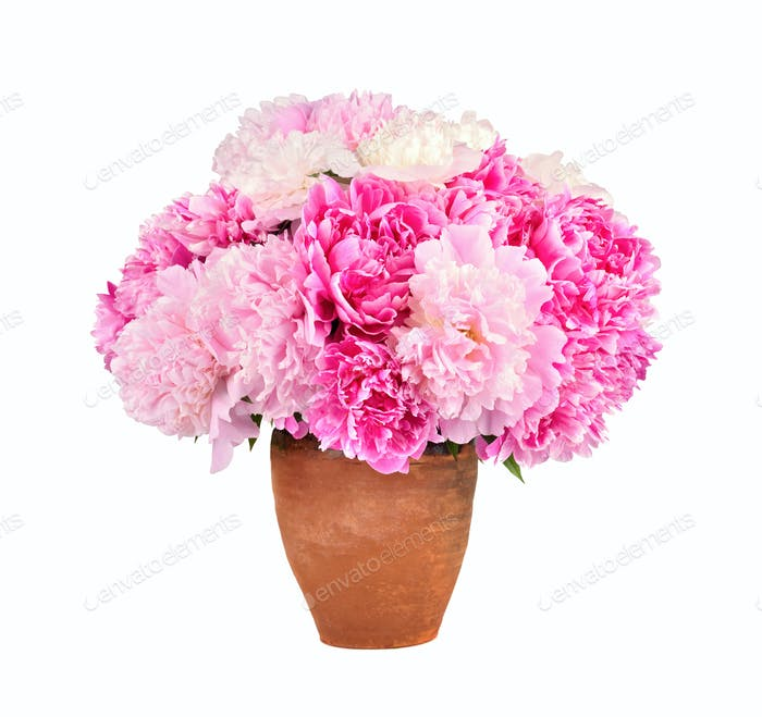 Bright bouquet of beauty peonies