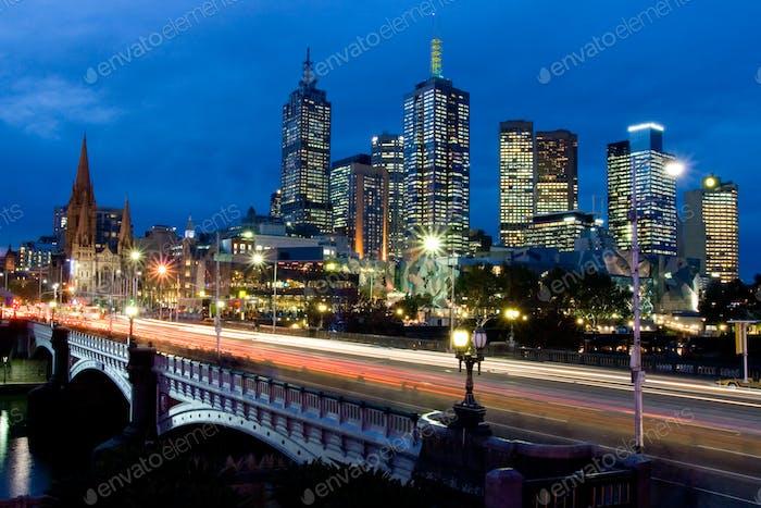 Melbourne Skyline Towards Fed Square