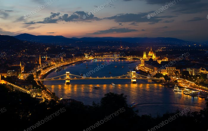 Panorama of evening Budapest