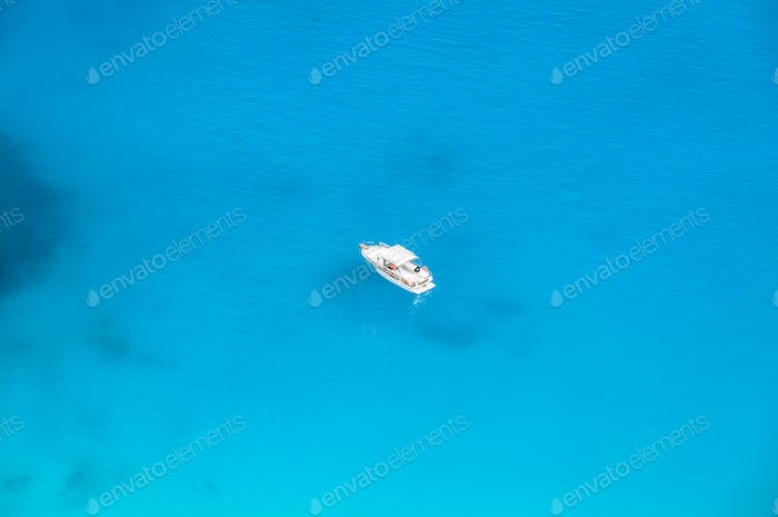yacht sailing seen from above
