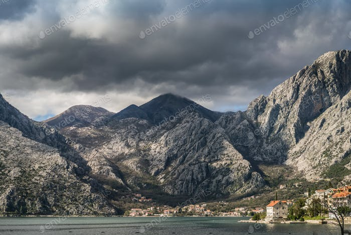 Town on the shore in Kotor Bay