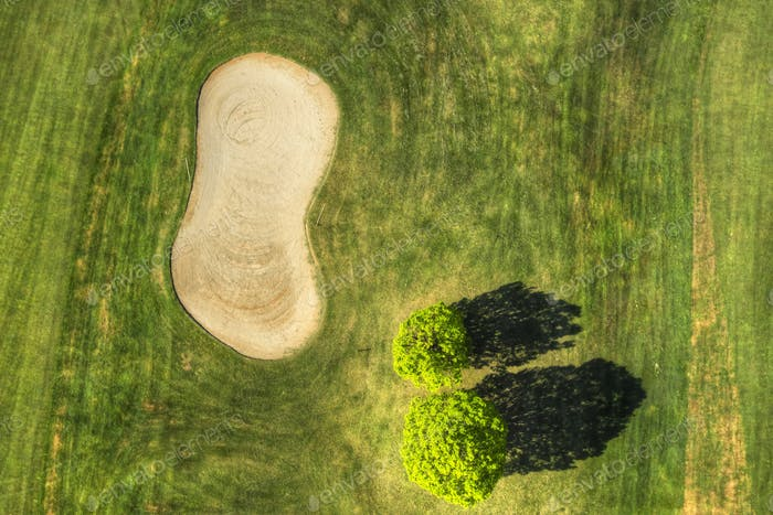 Golf field view from above
