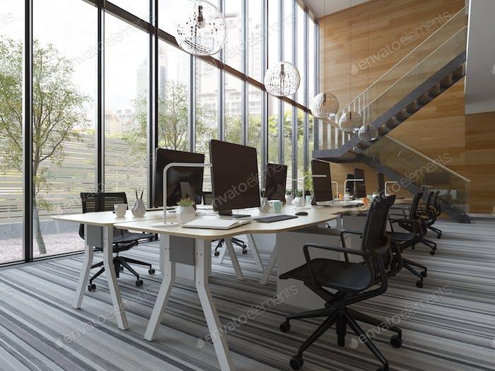 Interior modern open space office 3D illustration