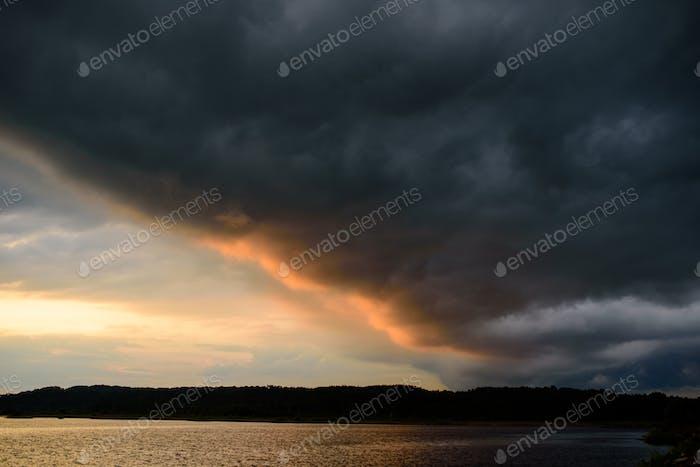 Sunset before a summer storm.