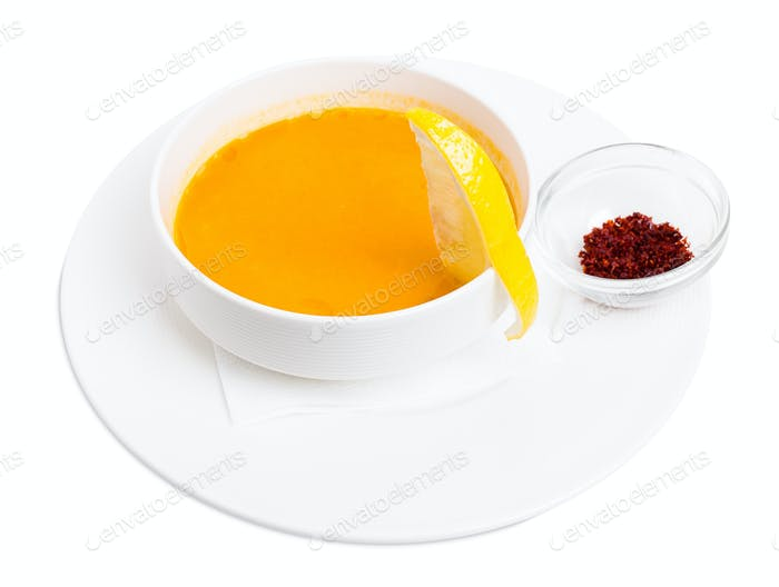 Lentil soup cream with lemon and paprika.