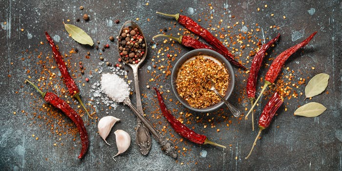 Cooking table with dry spices