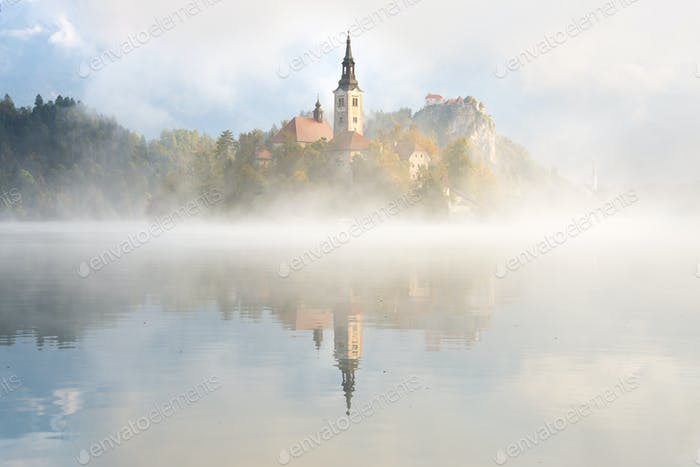 Foggy morning at Lake Bled in Slovenia