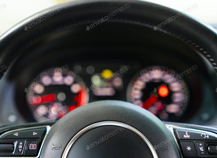 Close-up steering wheel of modern car