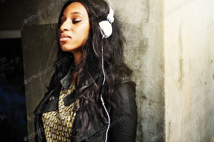 Listening African Descent Music Headphone Audio Concept
