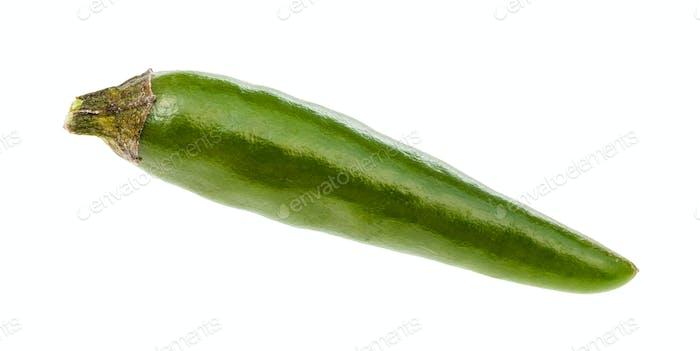 single fresh green ripe chili pepper isolated