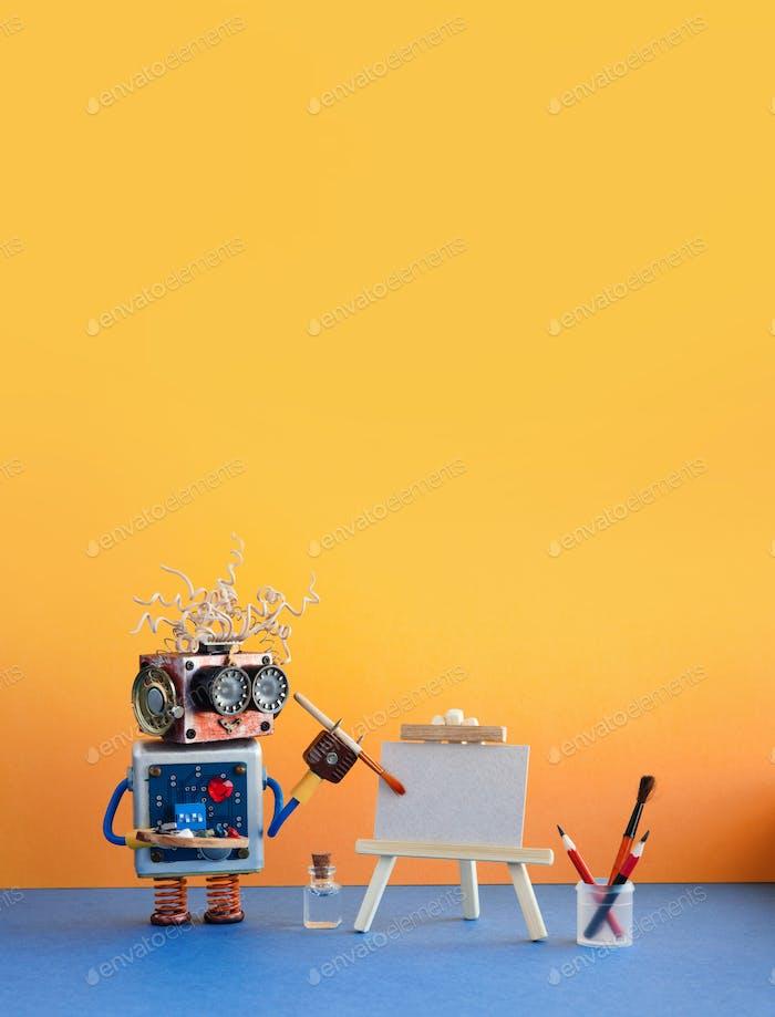Roboter Künstler beginnt, Kunstwerk zu malen. Kreative Roboter-Charakter mit einem Aquarellpinsel, Staffelei