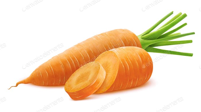 Carrot isolated on white background with clipping path