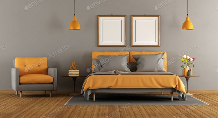 Modern gray and orange bedroom
