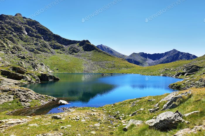 Tristaina high mountain lakes in Pyrenees. Andorra.