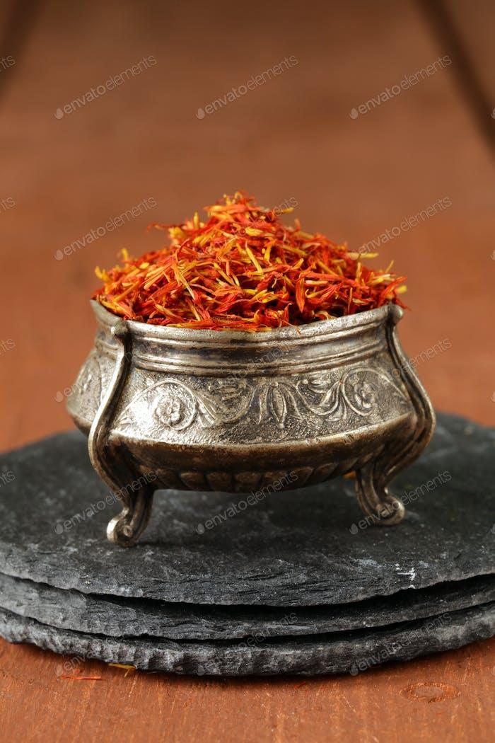 Saffron Spice in Metal Bowl