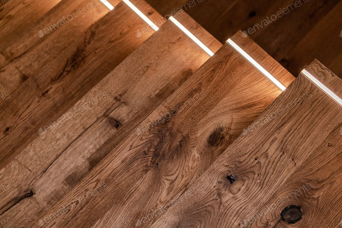 Wooden Stairs with LED Illumination