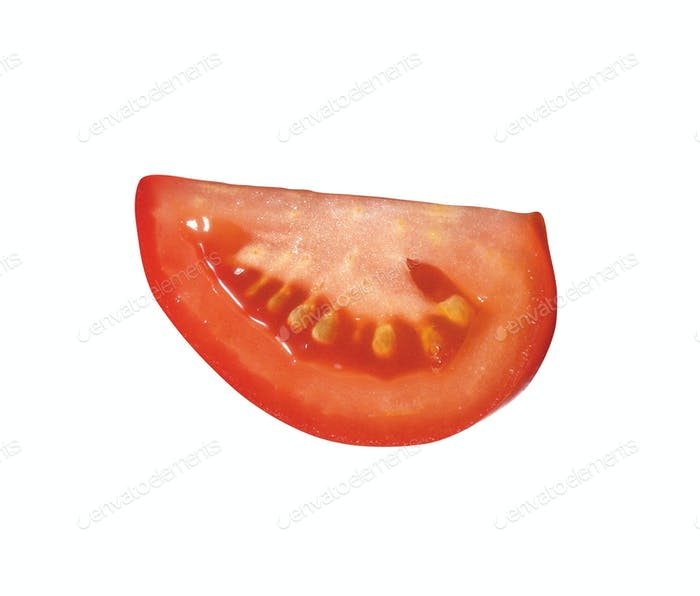 Tomato. Fresh slice of vegetable isolated on white