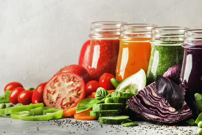 vegetable juices and smoothies set in bottles