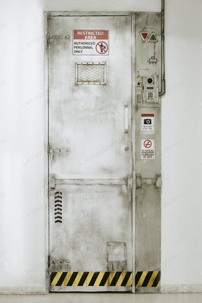 Eingeschränkter Bereich Tür. Bevollmächtigtes Personal. Sicherheitseingang. Vertikal