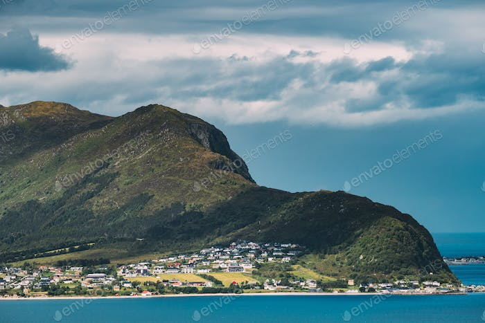 Godoya, Norway. View Of Godoy Skyline Cityscape In Summer Sunny Day. One Of From Alesund Islands