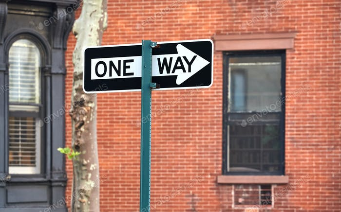 One way street sign in New York City.