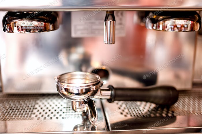 Espresso machine with tools and accessories as tamper, piston and coffee