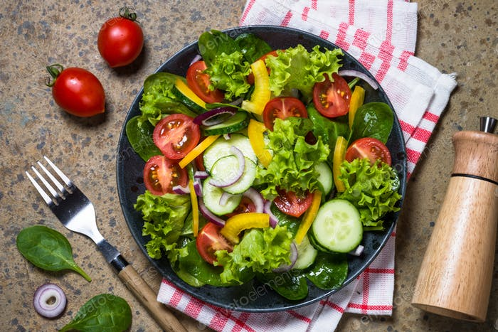 Fresh vegetables salad top view