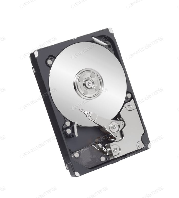 Hard disk drive inside isolated on white background