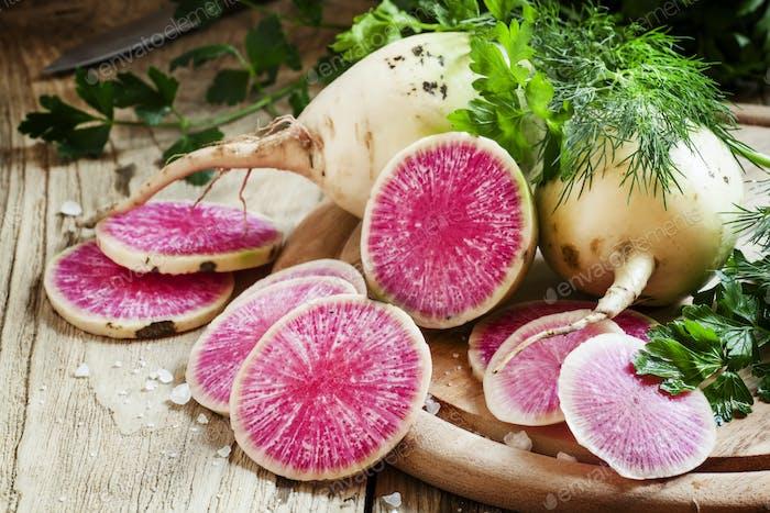 Cut pink radish