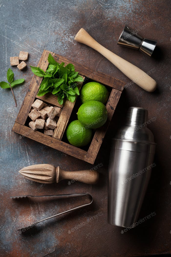 Mojito cocktail ingredients box