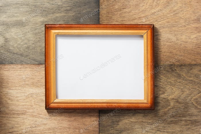 photo picture frame at wood