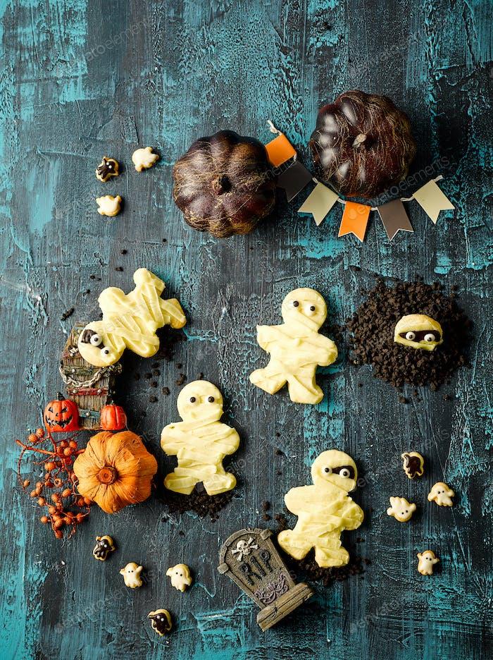 Halloween Mummy Cookie Draufsicht