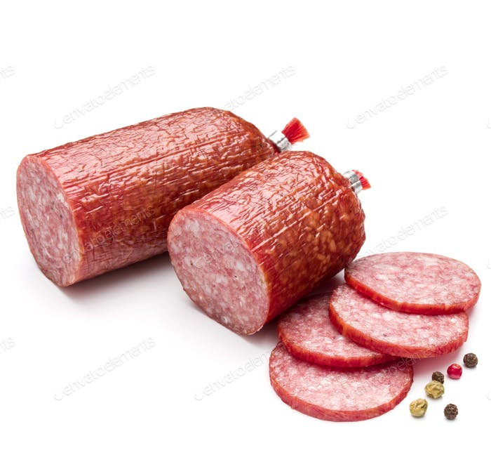 Salami smoked sausage and peppercorns isolated on white background cutout