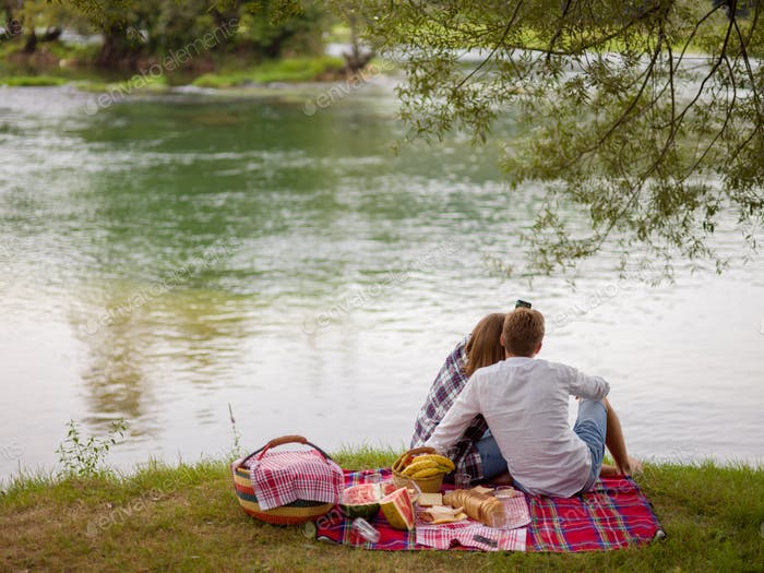Couple taking a selfie by mobile phone while enjoying picnic tim