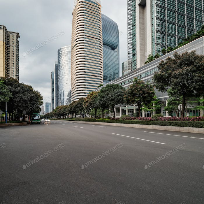 The road in the city