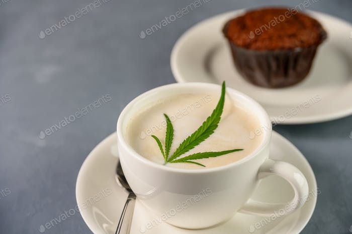 Coffee drink with cannabis cake