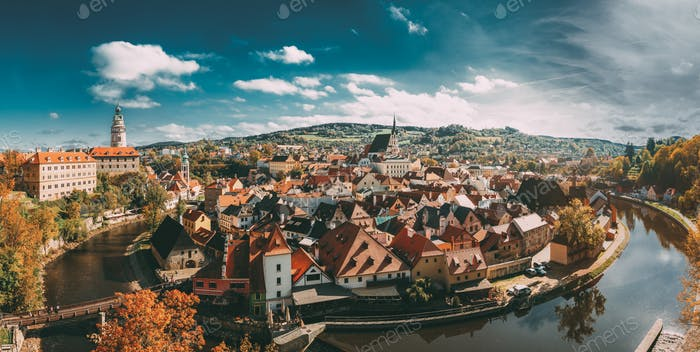 Panorama Of Cesky Krumlov Cityscape, Czech Republic. Sunny Autum