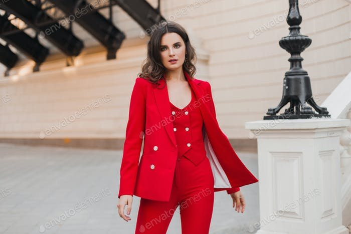 stylish woman walking in street