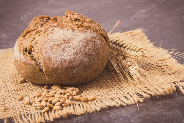Fresh baked rolls with seeds and ears of rye or wheat grain. Vintage photo