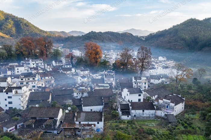 aerial view of shicheng village in late autumn