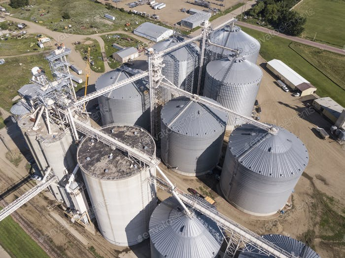 Aerial view of grain elevators and industrial area in South Dakota.