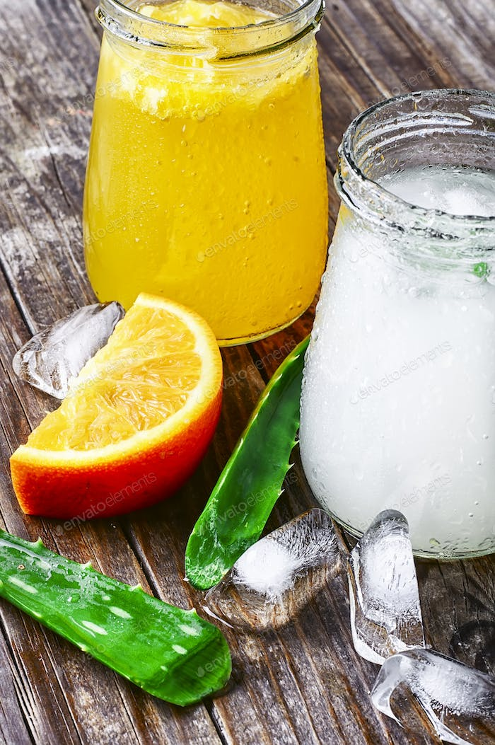 beverage with aloe and orange