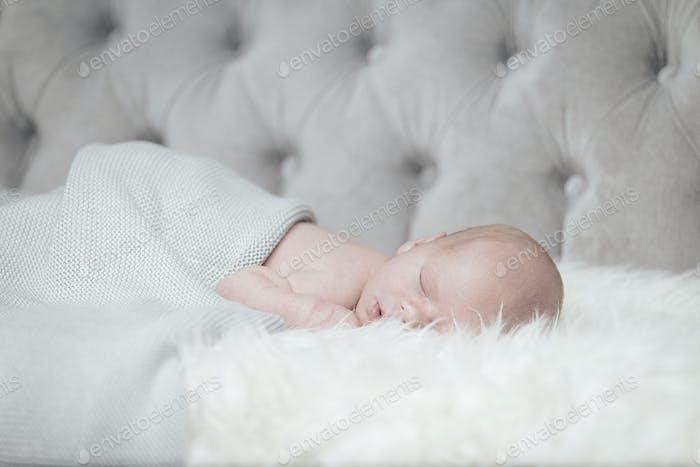 The newborn is sleeping