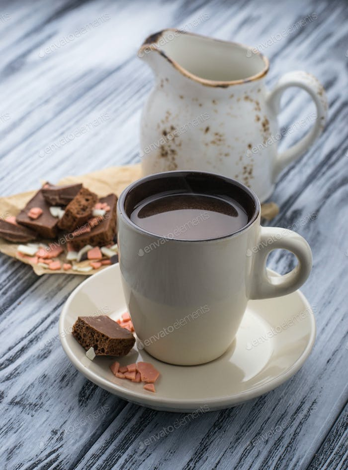 Cup of hot chocolate and chocolate chips