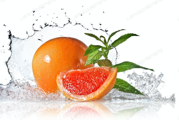 Thumbnail for Water splash on grapefruit with mint isolated on white